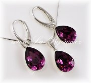 Swarovski Elements Pear,  kapky 14mm Amethyst
