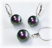 Sada Ag925,  Swarovski Perly 10mm Iridescent Purple