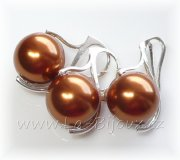 Sada Ag925,  Swarovski Perly 14mm Copper
