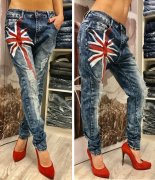 Bomba stylové buggy rifle jeans RED