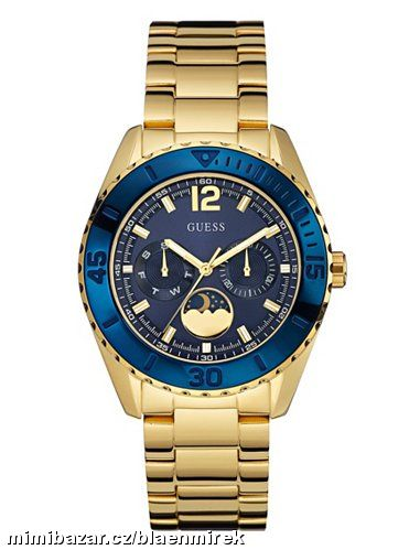 GUESS Blue and Gold-Tone Polished Sporty-Chic Watc