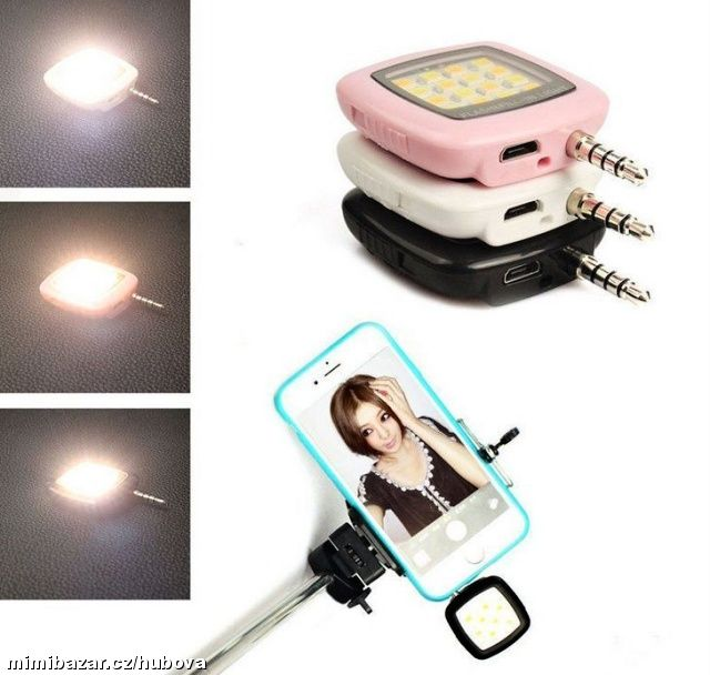 Přenosný mini Smartphone Selfie 16LED Flash Light
