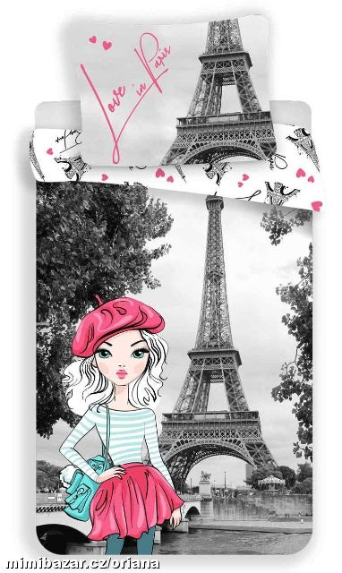 Povlečení fototisk Love in Paris grey