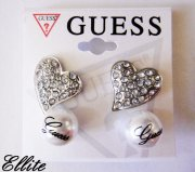 2 X NÁUŠNICE GUESS SILVER HEARTS AND PEARLS BI0110
