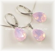 Swarovski Pear 14mm Ag925 kapky Rose Water Opal