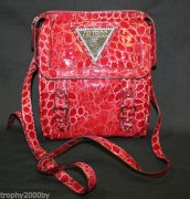 GUESS RED CROC EMBOSSED PATENT MARIBELLE CROSS-BOD