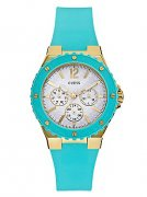 GUESS Turquoise and Gold-Tone Feminine Sport Watch