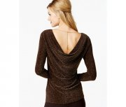 Michael Kors Metallic Cowl-Back Top