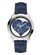 GUESS Blue and Silver-Tone Clearly Inspired Heart
