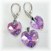 Swarovski Elements Heart sada 14+18mm Violet AB