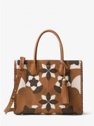 MICHAEL KORS Mercer Large Floral Leather Tote