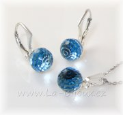 Sada Ag925 Swarovski Dicso Ball 8mm Aquamarine