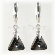 Náušnice Ag925 Swarovski Triangle 12 Silver Night