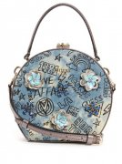 Kabelka GUESS Britta Round Mini Denim Satchel