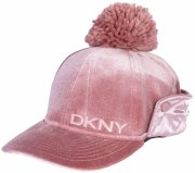 DKNY3- DKNY GIRLS VELVET BOMBER HAT WITH SATIN
