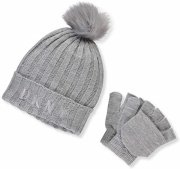 DKNY2 GIRLS KNIT BEANIE-GLOVES SET-GRAY