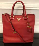 PRADA VITELLO DAINO SHOPPER TOTE RED