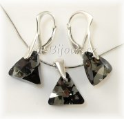 Sada Ag925 Swarovski Triangle Silver Night