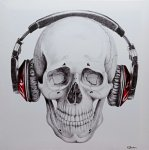 Obraz na plátně SKULL WITH HEADPHONES